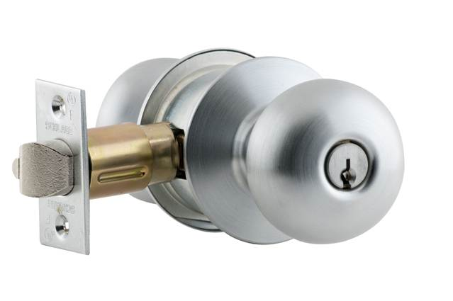 Plymouth Design Bright Brass Finish Keyless Schlage D40S PLY 605 Series D Grade 1 Cylindrical Lock Privacy Function
